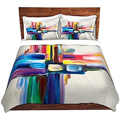 DiaNoche Designs Colorful Sripes Ll Cover Brushed Twill Twin Queen 8 King Duvet Sham Set