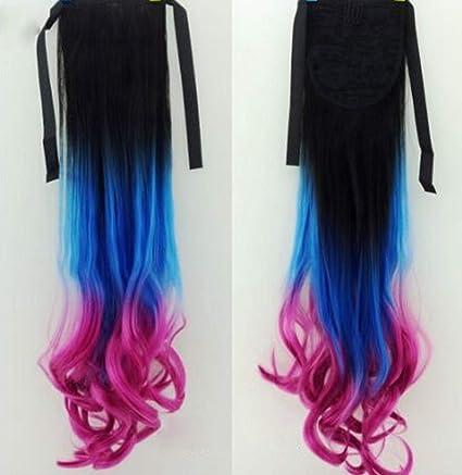 La peluca de color resalta el tipo de onda larga cabello ...