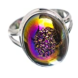 Titanium Druzy Ring Size 6.25 (925 Sterling Silver) - Handmade Jewelry RING864025