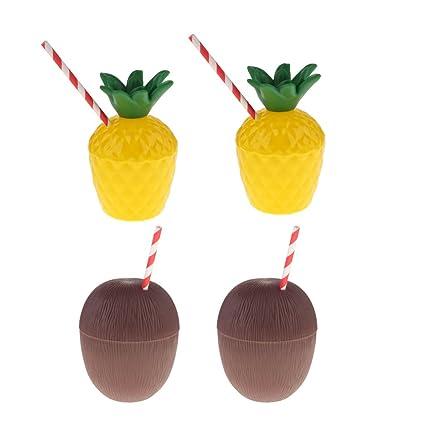 MagiDeal 4pcs Copa Forma de Piña + Coco Plástico con Paja Estilo Hawaiana Decoración de Fiesta