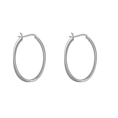 Amazon.com  Decadence Women s Sterling Silver 4.5X35mm Oval Hoop ... 9ce8fc83ea