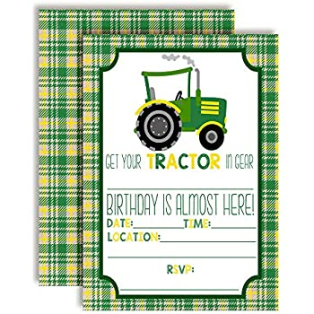 Green And Yellow Tractor Birthday Party Invitations For Boys 20 5x7 Fill In Cards With Twenty White Envelopes By AmandaCreation