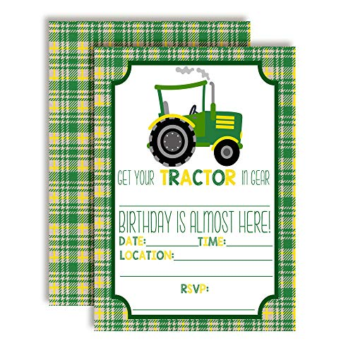 Green and Yellow Tractor Birthday Party Invitations for Boys, 20 5