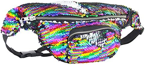 6f53d6696525 ICOSY Unisex Mermaid Sequin Waist Pack Fanny Bag Sport Bag Outdoor ...