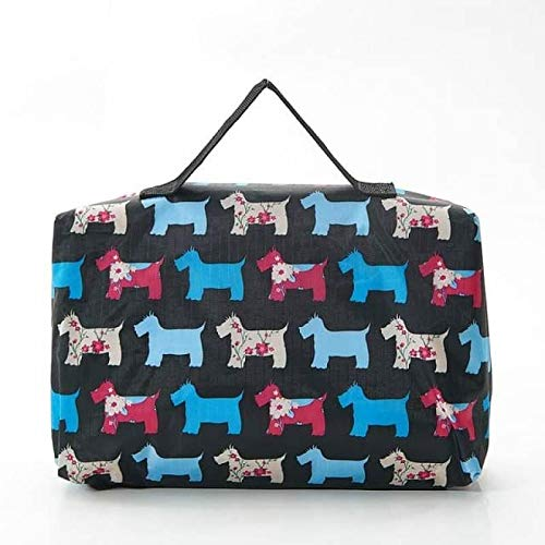 Eco Chic Foldable Waterproof Picnic Blanket in Black Floral Scotty Dog Design with Carry Bag