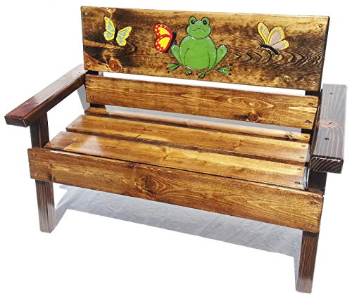 (Kids Wood Bench, Engraved and Painted Frog & Butterfly, Indoor/Outdoor)