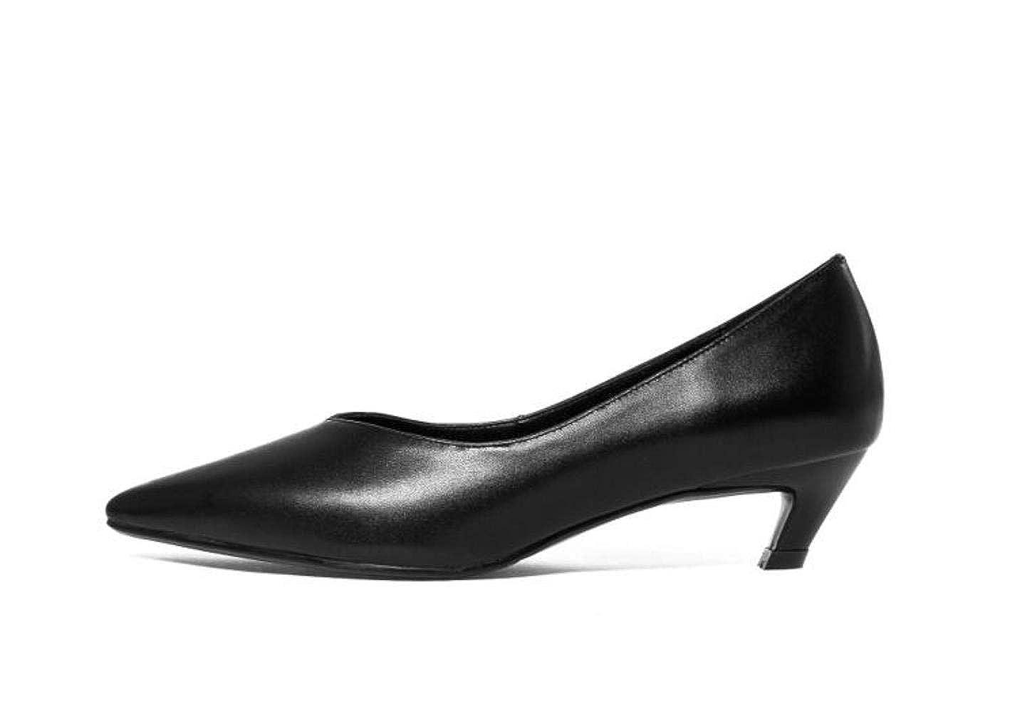 Black Woman Genuine Leather Slip On Lower Heels 4cm shoes Office Pumps