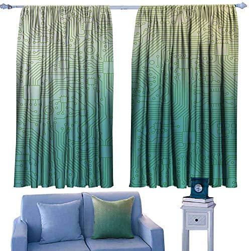 DONEECKL Novel Curtains Abstract Decor Technology Pattern Motherboard Image Background Vector Graphics Tie Up Window Drapes Living Room W55 xL63 Jade Green Pale Green