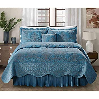 Image of 5 Piece Oriental Azure Blue Queen Coverlet Set All Over Beautifully Embroidered Floral Damask Pattern Solid Color Design Nautical Bedding Supreme Soft Luxury Decor Coastal Bedding Bedskirt Included Home and Kitchen