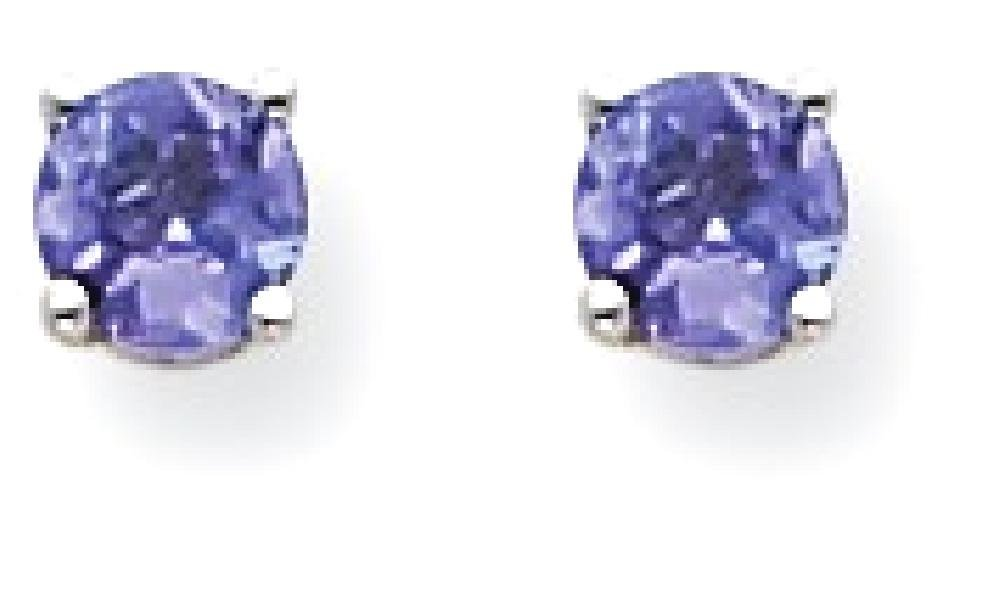 ICE CARATS 14k White Gold Blue Tanzanite Post Stud Ball Button Earrings Gemstone Fine Jewelry Gift For Women Heart