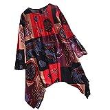 Kaitobe Womens Long Sleeve Round Neck Tops Irregular Hem Print Button Plus Size Tunic Blouse Tops Sweatshirt Jumper