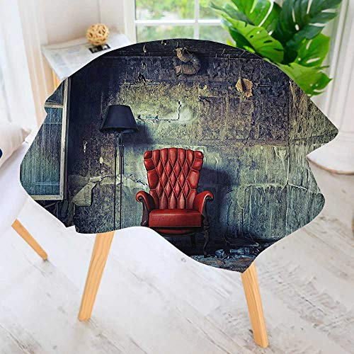 Spillproof Polyester Fabric Round Tablecloth-Luxury Armchair Floor Lamp in Grunge Interior Damaged Messy Abanded House Window Elegant Printed Table Cloth 55