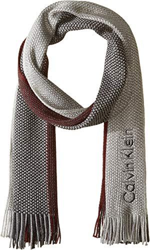 Calvin Klein Men's Striped Scarf, Deep Red, One Size (Mens Dress Scarf)