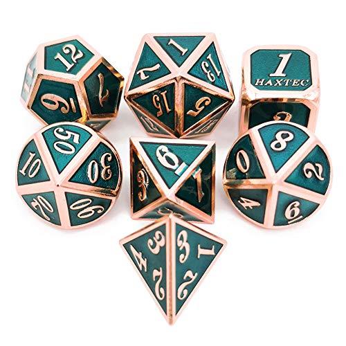 Haxtec 7PCS Metal Dice Set Copper Teal D&D Dice Enamel Polyhedral Dice Set D20 D12 D10 D8 D6 D4 for Dungeons and Dragons Table Games (Copper Teal-V2)