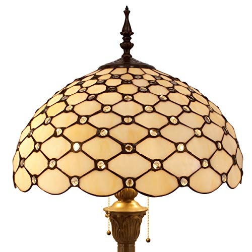 (Tiffany Floor Lamp Crystal Pear Bead Stained Glass Lampshade Coffee Table Reading Lamps Antique Style Base Lighting W16 H64 Inch Living Room Bedroom Bookcase Dresser Bedside Desk S005 WERFACTORY)