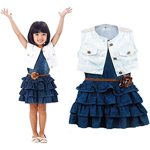 (Winhurn 2016 New Hot Sale Children Girls Summer Models Girls Vest Jeans Dress + Jacket 2pc Suits (5-6 Years))