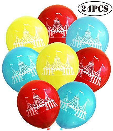 24 Pcs Carnival Circus Tent Latex Balloons,Carnival Circus Tent Balloons for Carnival Party Supplies Favors,Carnival Decoration