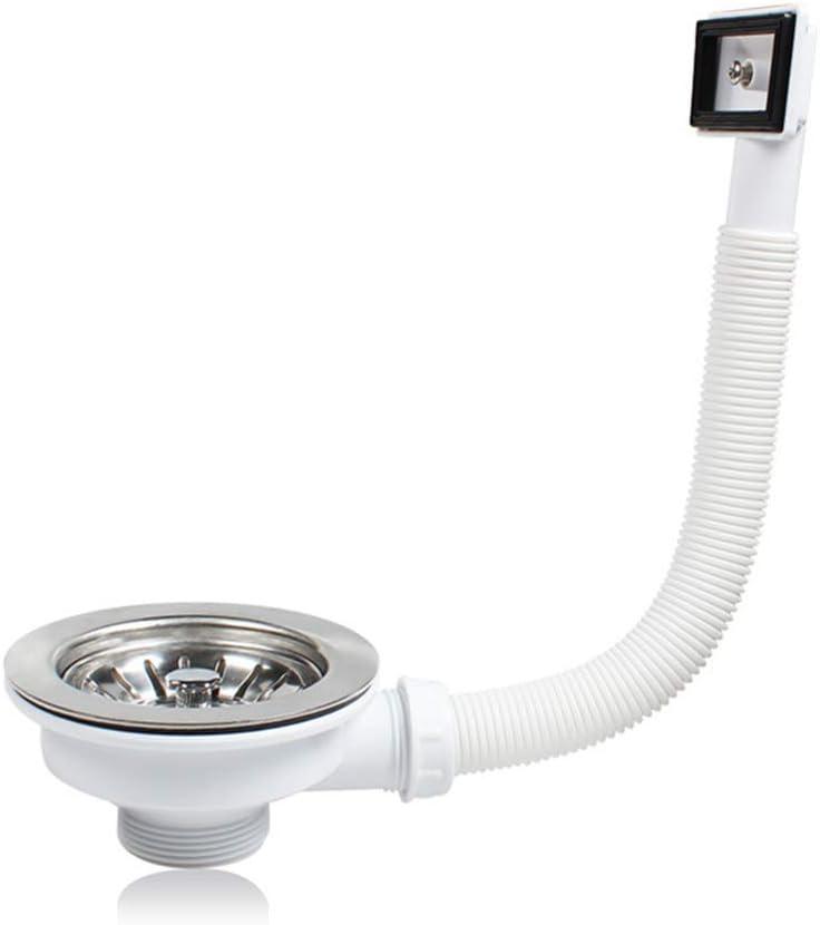 Residuos cesta colador y cuadrado tubo de desagüe, Valvula Fregadero 110 1 1/2'' Cesta Honda, Acero inoxidable + ABS, Blanco