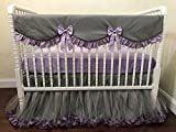 Nursery Bedding, Baby Girl Crib Bedding Set Giselle Gray with Lavender- Gray and Lavender Baby Bedding, Bumperless Crib Bedding, Crib Rail Cover, Teething Guard , 1 - 4 pieces