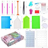 60 Pieces Diamond Painting Tools, YARKOR 5D DIY Diamond Painting Accessories | Diamond Painting Pens/Tweezers/Glue/Plastic Tray/Bags/28 Slots Diamond Embroidery Box for Adults or Kids