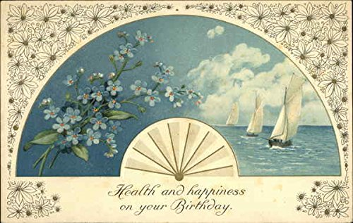 Health and Happiness on your Birthday Fans Original Vintage Postcard