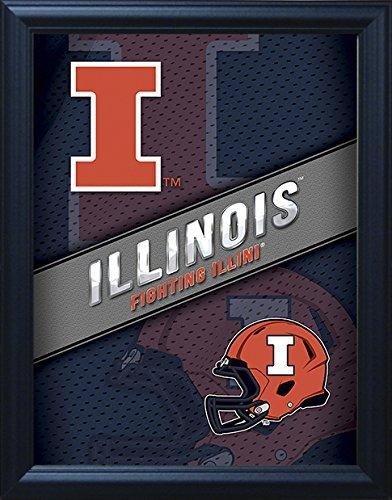 "- Illinois Fighting Illini 3D Poster Wall Art Decor Framed | 14.5x18.5"" | Officially Licensed NCAA Merchandise | Lenticular Prints | UI Logo | for Fans of Football, Basketball, Baseball, Alumni!"