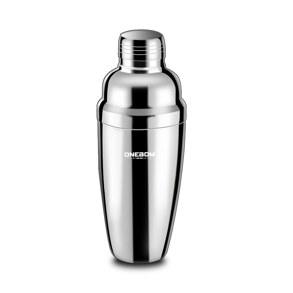 OneBom Cocktail Shaker,Stainless Steel Insulated, with Jigger Cap & Strainer, Martini Shaker Set Large Capacity for Drinks Bar Home Use (3 - Piece Set)