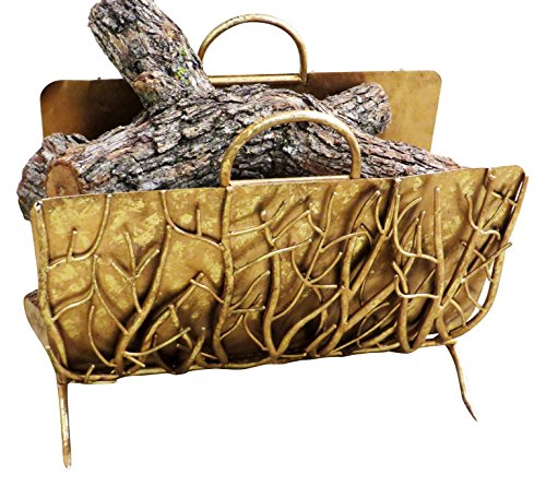 Golden Branches Iron Log Holder | Metal Fireplace Accessories - Antique Italian Tole