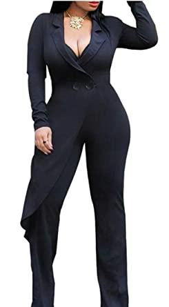 67cd5842c3a7 UNINUKOO Unko Womens Wide Leg Pants High Waist Long Sleeve V Neck Jumpsuit  Rompers Black XS