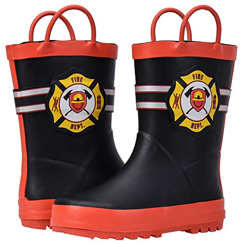 ALEADER Boys Girls Waterproof Rubber Rain Boot with Easy Pull On Handles Black/Fire Mark 11/12 M US Little - Fireman Rubber Kids Boots