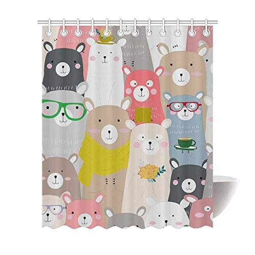 Instany Modern Decor Shower Curtain Seamless Cute Baby Teddy Bear Personalized Creative Waterproof Bath Curtain with 12 Hooks 60x72