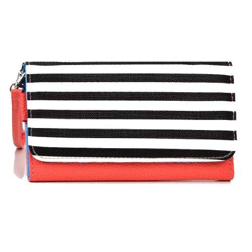 EXXIST® Metro Safari Series.. Women's vegan patent leather Clutch for Samsung SPH-L720T Galaxy S4 TD-LTE (Color: Zebra stripes / Coral) -ESMLMTC1