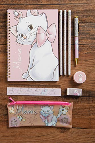 Disney Marie (Aristocats) Official Stationery Set, Includes: A5 Note Pad, 3, Pen, Ruler, Eraser, Sharpener and Pencil Case, Multi Colour]()
