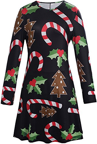 Christmas Dress Party Wear Bodycon Swing Mid Longsleeve Women Candy Printed Costumes M