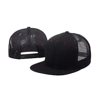 161213d8 Opromo 6 Panel Flat Bill Mesh Trucker Hat Plain Adjustable Snapback  Baseball Cap-Black-