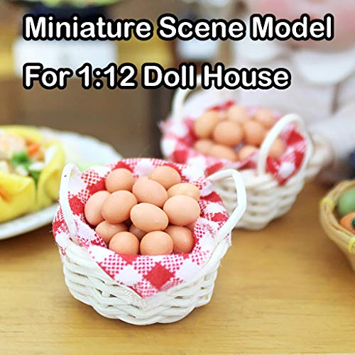 m·kvfa 1:12 Dollhouse Miniature Scene Model Mini Egg Basket Doll House Accessories Model Pretend Play Toy for Your Children from *m·kvfa* Toys & Games