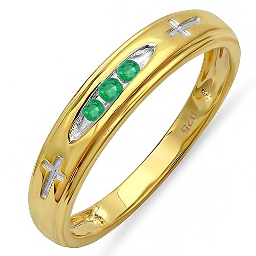 Dazzlingrock Collection 0.15 Carat (ctw) 18K Yellow Gold Plated Silver 3 Stone Round Emerald Cross Design Men's Band, Size 12