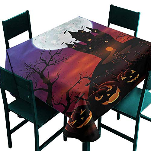 DONEECKL Oil-Proof and Leak-Proof Tablecloth Halloween Haunted Castle Great for Buffet Table W60 xL60 -