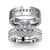 LOVERSRING His and Hers Engagement Wedding Rings Bands Set Stainless Steel Cubic Zirconia Promise Anniversary Ring for Women CZ Couples Bridal Sets Mens Matching Band