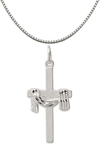 Mireval Sterling Silver Cross Charm on a Sterling Silver Chain Necklace 16-20