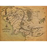Kumax Map Of Middle Earth The Lord Of The Ring Fabric Canvas Cloth Poster Print For Bar Office Room Wall Print Decor (8.26x11.69inch 12x15.98inch 14x17.99inch )