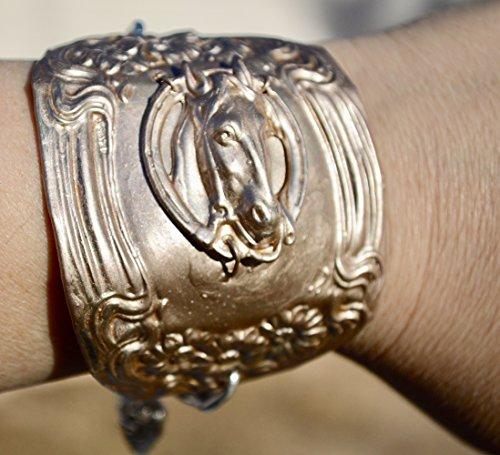Baroque Silverplate - Antique Art Nouveau Rose Gold Horse Head Wide Cuff Bracelet Repoussé Renaissance,Baroque, Bracer, Steampunk