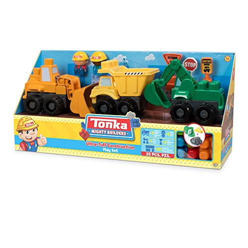 (Tonka Mighty Builders Construction Trucks Play Set: Dump Truck, Front Loader and Bulldozer)