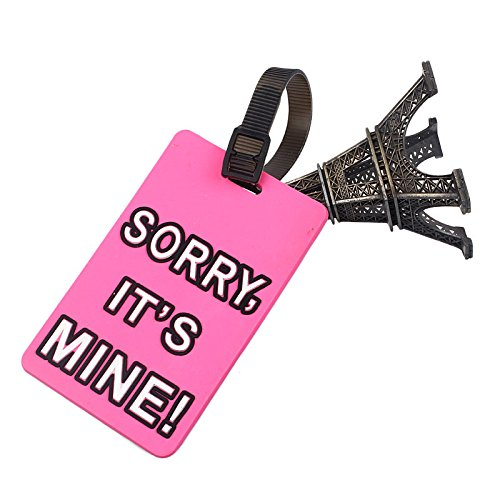 (Moonite Luggage Tags with Full Back Privacy Cover with Letter & Eiffel Tower (E))