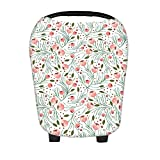 SHELLBOBO Baby Car Seat Canopy Multi Use Cover Floral Printed Nursing Scarf (white)