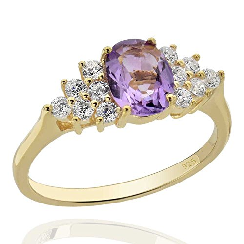 Sterling Silver 14Kt Gold-Plated Brazilian Amethyst & Cubic Zirconia Ring Sz 7