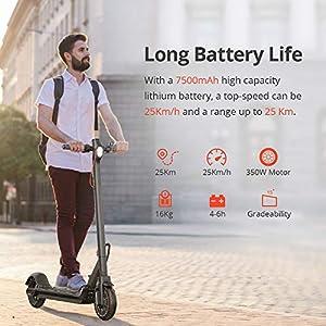 GoZheec Trottinette Électrique, ES2 Scooter Électrique Pliable 350W Moteur avec Contrôle de l'application et Port USB Intégré, 7.5h Batterie, LCD Écran d'affichage,25km/h, 8.5 inch Pneu…