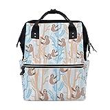 THUNANA Sloth Pattern Zipper Travel Large Capacity Baby Diaper Bag School Laptop Canvas Backpack Women