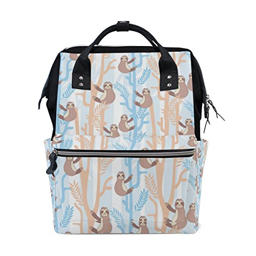 THUNANA Sloth Pattern Zipper Travel Large Capacity Baby Diaper Bag School Laptop Canvas Backpack Women by THUNANA
