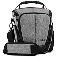 USA Gear Camera Case for Digital SLR (Gray) with Soft Cushioned Interior, Zippered Accessory Pockets, Adjustable Carry Strap for Nikon D3300 / D3400 / D5500 , Canon Rebel T6 / T6i / T5 / T5i & More